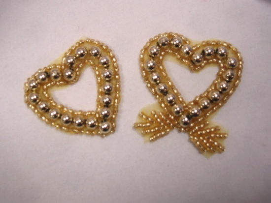 0265  Gold Double Heart Beaded Applique 3