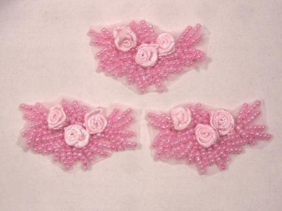 A0276  Set of 3 Pink  Ribbon Rose Appliques 2