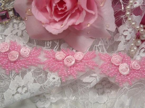 0276  Pink Floral Ribbon Rose Beaded Applique or Trim