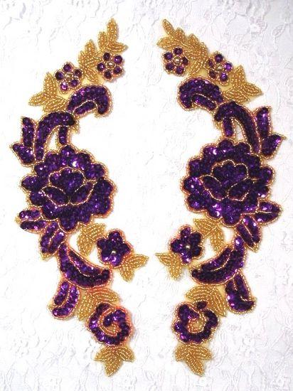 0280 Purple Gold Mirror Pair Sequin Beaded Appliques 9.5\