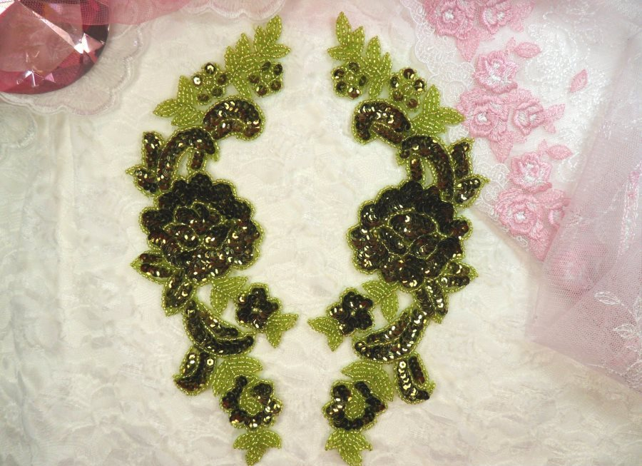 Sequin Appliques Olive Lime Green Beaded Rose Floral Mirror Pair 9.5 (0280X)