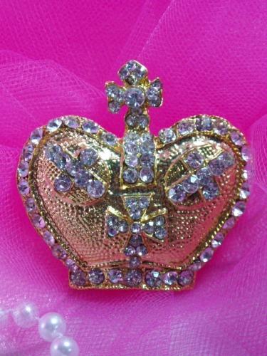 0308 Gold Rhinestone Crown Necklace Pendant 2