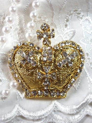 "0308 Gold Rhinestone Crown Necklace Pendant 2"""