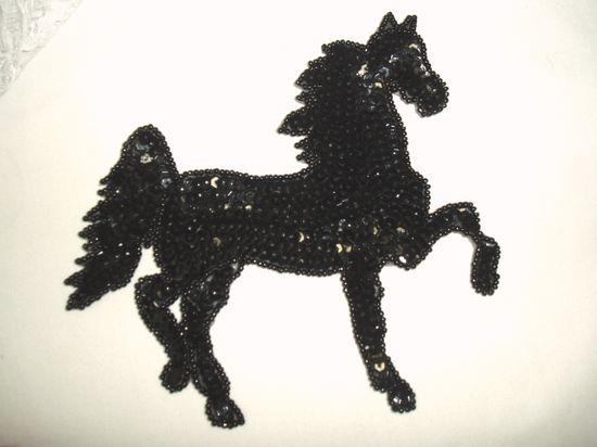 0319  Black Stallion Horse Beaded Sequin Applique 5.75\