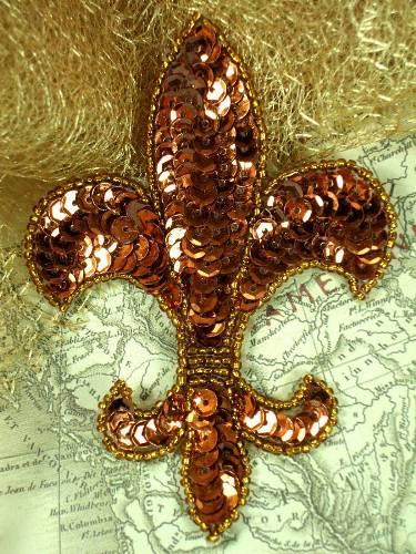 0321 Bronze Fleur De Lis Beaded Sequin Applique 4\