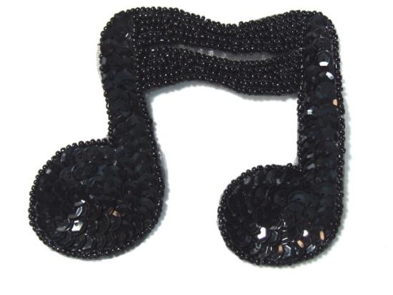 JB144 Music Note Applique Black Double Sequin Beaded 3\