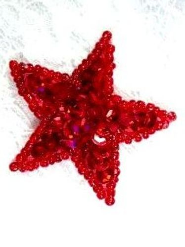 JB70 Star Applique Red One Inch Beaded Sequin 1
