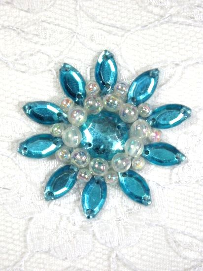 0342  Turquoise / Crystal AB Jewel Beaded Applique 1.5\