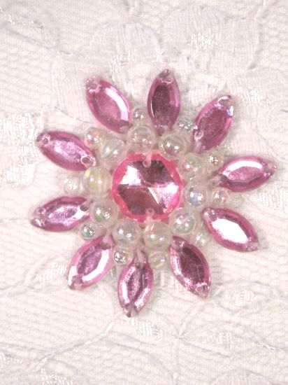 0342  Pink / Crystal AB Jewel Beaded Applique 1.5\