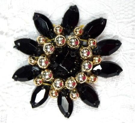 0342  Black Gold Jewel Beaded Applique 1.5