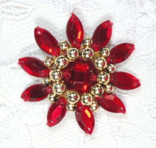 0342  Red / Gold  Jewel Beaded Applique 1.5\