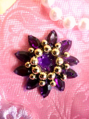 0342 Applique Purple Jewel Gold Beaded 1.5\