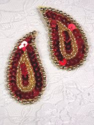 """0345  Red / Gold Paisley  Mirror Pair  Sequin Beaded Applique 2"""""""