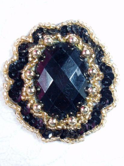 0346 Black / Black Jewel Sequin Beaded Applique 2\