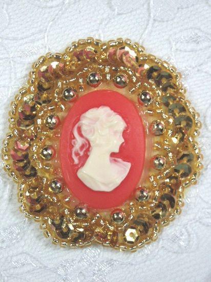 0347  Gold / Orange Victorian Cameo Sequin Beaded Applique Brooch 2