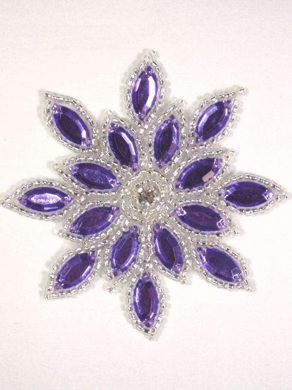 XR32  Purple / Silver Snowflake Jewel Beaded Applique 3\