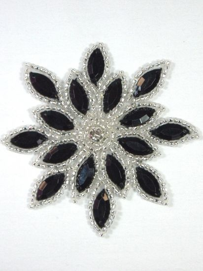 XR32 Snowflake Crystal Rhinestone Black Jeweled Silver Beaded Applique 3\