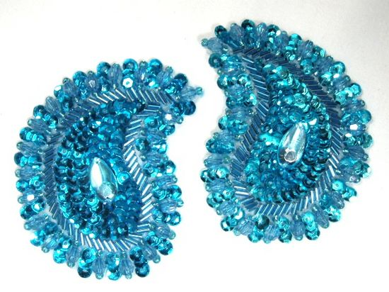 0361  Turquoise Paisley Mirror Pair Beaded Sequin Applique 3.25\