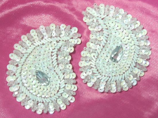 """0345 ~ WHITE AB PAISLEY PAIR SEQUIN BEADED APPLIQUES 2/"""""""