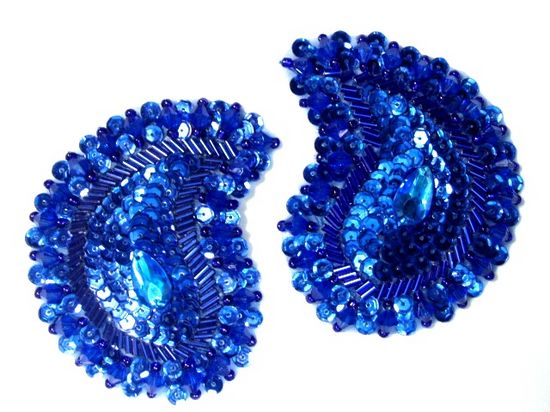 ROYAL BLUE SEQUIN BEADED APPLIQUE