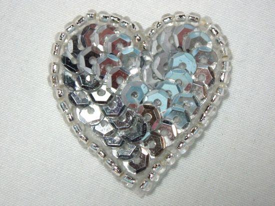0362  Silver Heart Beaded Sequin Applique 1 +