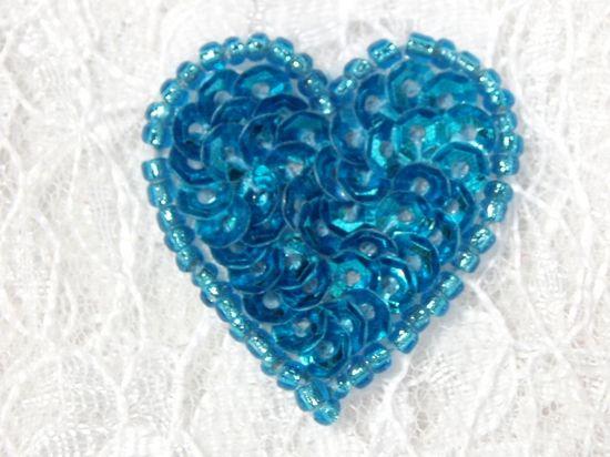 0362  Turquoise Heart Beaded Sequin Applique 1 +