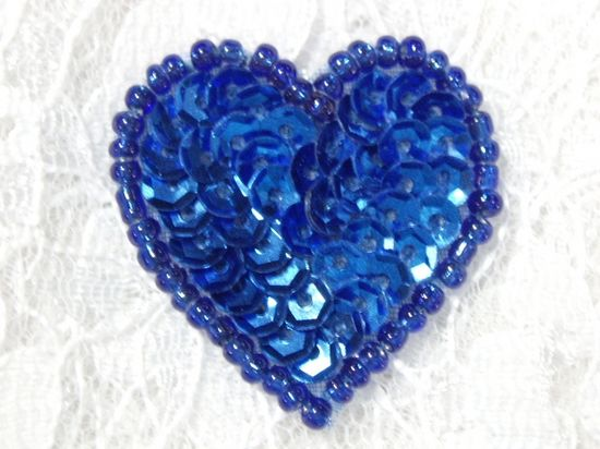 0362  Royal Blue Heart Beaded Sequin Applique 1 +