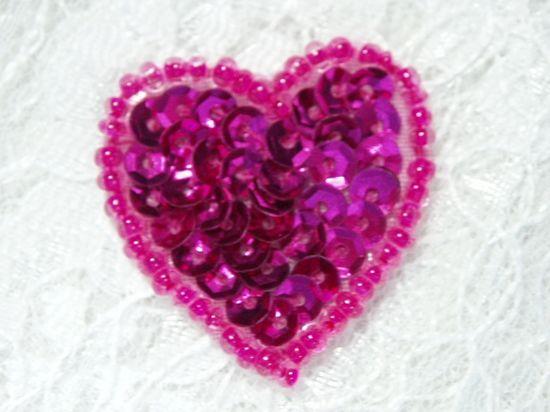 0362  Fuchsia Heart Beaded Sequin Applique 1 +