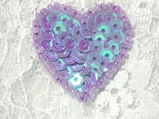 0362  Lavender AB Heart Beaded Sequin Applique 1 +