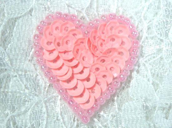 0362  Pink Pastel Heart Beaded Sequin Applique 1 +