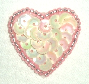 """0362  Pink AB Heart Beaded Sequin Applique 1"""" +"""