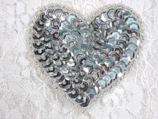0363  Silver Heart Beaded Sequin Applique 2