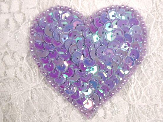 0363  Lavender AB Heart Beaded Sequin Applique 2