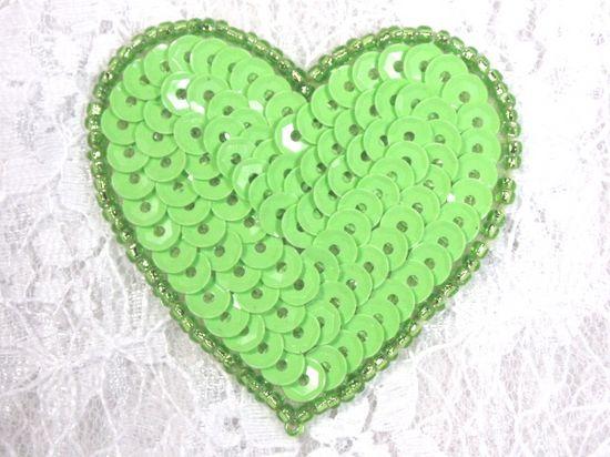 0363  Neon Green Heart Beaded Sequin Applique 2
