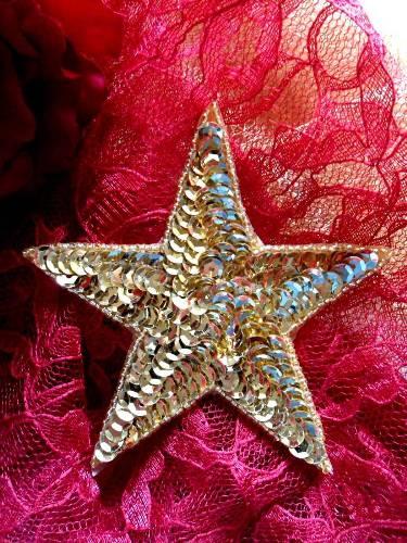 0365 Gold Star Beaded Sequin Applique 4\
