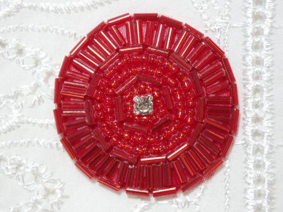 0367 Red Circle Round Rhinestone Beaded Applique 1.5\