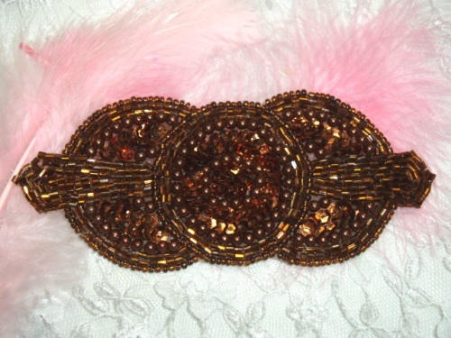 Sequin Applique Bronze Triple Circle Beaded Motif Sewing Clothing Patch or Crafts DIY Hair Bow (0369-bz)