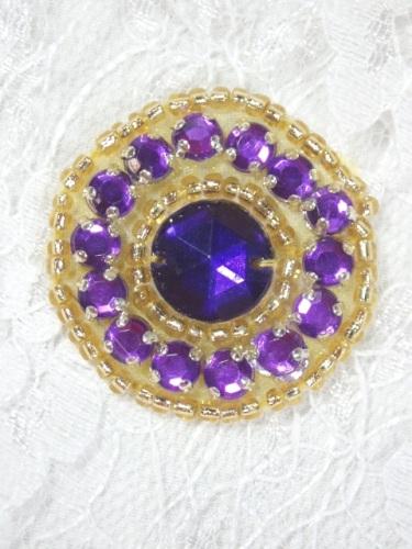 ACT/0379 Purple Gold Rhinestone Round Beaded Applique 1.25\