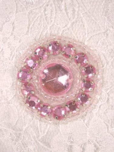 ACT/0379  Pink Rhinestone Round Beaded Applique 1.25\