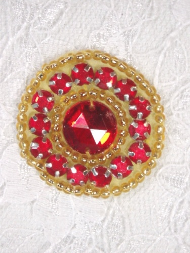 ACT/0379  Red Gold Rhinestone Round Beaded Applique 1.25\