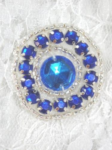 ACT/0379   Blue Silver Rhinestone Round Beaded Applique 1.25\