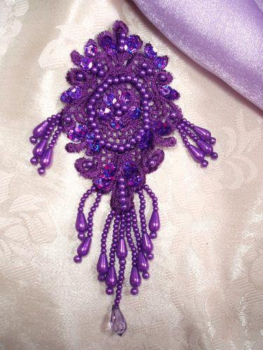 0393 Purple Venise Lace Sequin Beaded Applique 6.25
