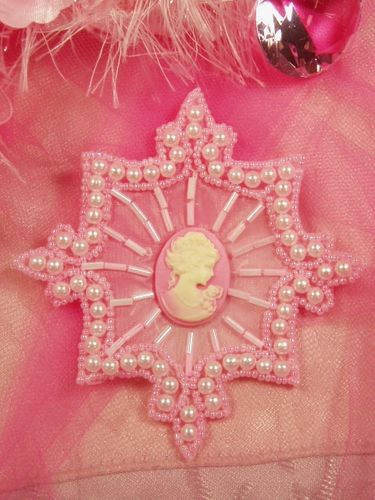 0394  Pink Pearl Cameo Beaded Applique 4