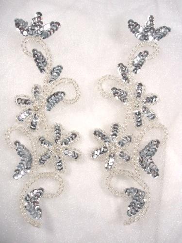 0396  Silver Beaded Sequin Appliques Mirror Pair