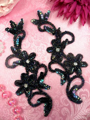Black AB Sequin Beaded Appliques Mirror Pair 7 (XR378x)