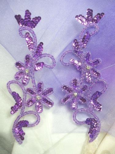 0396  Lavender Metallic Beaded Sequin Appliques Mirror Pair