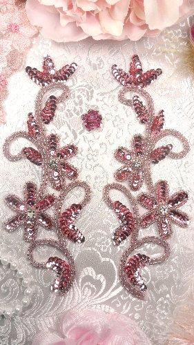 0396  Mauve Beaded Sequin Appliques Mirror Pair