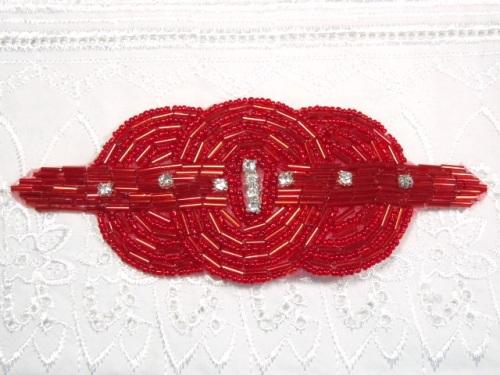 HB9040 Red Beaded Rhinestone Hair bow