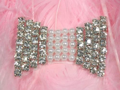 0411  Rhinestone Pearl Bow Tie Beaded Applique 2\