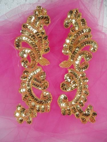 0422  Gold Mirror Pair Sequin Beaded Appliques